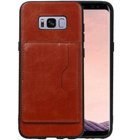 Staand Back Cover 1 Pasjes Galaxy S8 Plus Bruin