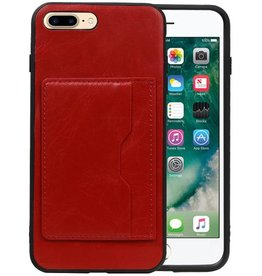 Staand Back Cover 1 Pasjes iPhone 8 Plus Rood