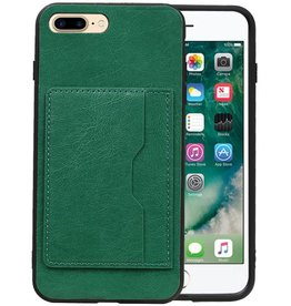 Staand Back Cover 1 Pasjes iPhone 8 Plus Groen