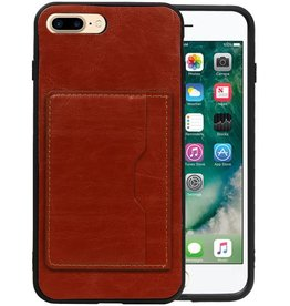 Staand Back Cover 1 Pasjes iPhone 8 Plus Bruin