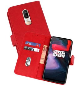 Bookstyle Wallet Cases Hoesje OnePlus 6 Rood