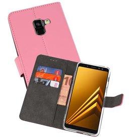 Wallet Cases Hoesje Galaxy A8 2018 Roze