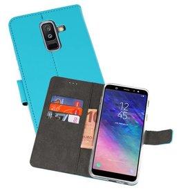 Wallet Cases Hoesje Galaxy A6 Plus (2018) Blauw