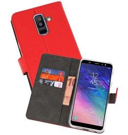 Wallet Cases Hoesje Galaxy A6 Plus (2018) Rood