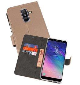 Wallet Cases Hoesje Samsung Galaxy A6 Plus (2018) Goud