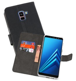 Wallet Cases Hoesje Galaxy A8 Plus 2018 Zwart
