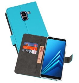 Wallet Cases Hoesje Galaxy A8 Plus 2018 Blauw