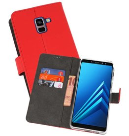 Wallet Cases Hoesje Galaxy A8 Plus 2018 Rood