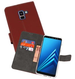 Wallet Cases Hoesje Galaxy A8 Plus 2018 Bruin