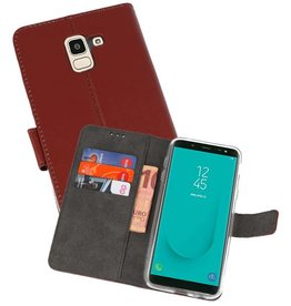Wallet Cases Hoesje Galaxy J6 2018 Bruin