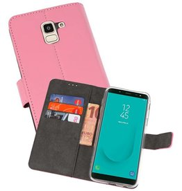 Wallet Cases Hoesje Galaxy J6 2018 Roze