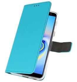Wallet Cases Hoesje Galaxy J6 Plus Blauw