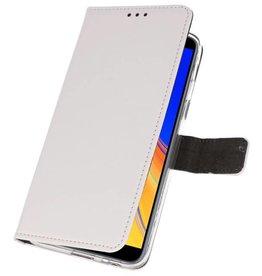Wallet Cases Hoesje Galaxy J4 Plus Wit