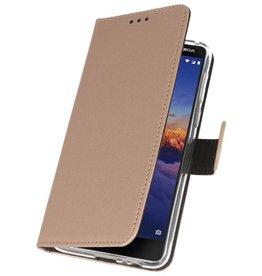 Wallet Cases Hoesje Nokia 3.1 Goud