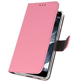 Wallet Cases Hoesje Nokia 5.1 Roze