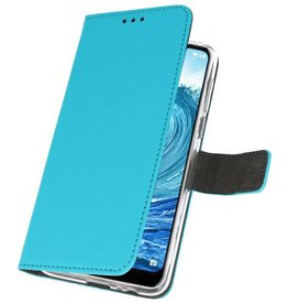 Wallet Cases Hoesje Nokia X5 5.1 Plus Blauw