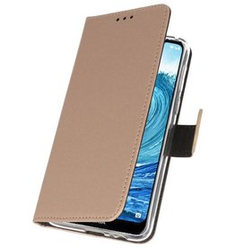 Wallet Cases Hoesje Nokia X5 5.1 Plus Goud