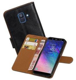 Zakelijke Bookstyle Hoesje Samsung Galaxy A6 2018 Zwart