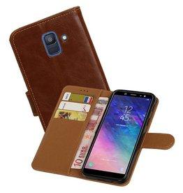 Zakelijke Bookstyle Hoesje Samsung Galaxy A6 2018 Bruin