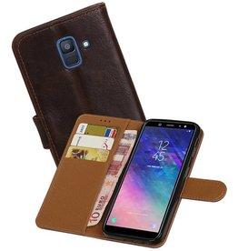 Zakelijke Bookstyle Hoesje Samsung Galaxy A6 2018 Mocca