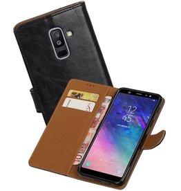 Zakelijke Bookstyle Hoesje Samsung Galaxy A6 Plus 2018 Zwart