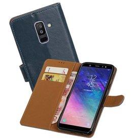 Zakelijke Bookstyle Hoesje Samsung Galaxy A6 Plus 2018 Blauw