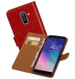 Zakelijke Bookstyle Hoesje Samsung Galaxy A6 Plus 2018 Rood