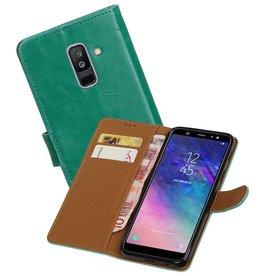 Zakelijke Bookstyle Hoesje Samsung Galaxy A6 Plus 2018 Groen