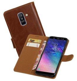 Zakelijke Bookstyle Hoesje Samsung Galaxy A6 Plus 2018 Bruin