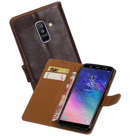 Zakelijke Bookstyle Hoesje Samsung Galaxy A6 Plus 2018 Mocca