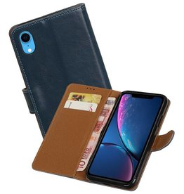Zakelijke Bookstyle Hoesje iPhone XR Blauw