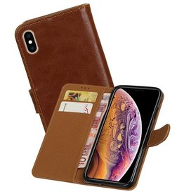 Zakelijke Bookstyle Hoesje iPhone XS Max Bruin