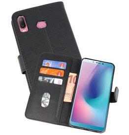 Samsung Galaxy A6s Hoesje Kaarthouder Book Case Telefoonhoesje Zwart