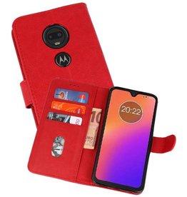 Motorola Moto G7 Hoesje Kaarthouder Book Case Telefoonhoesje Rood