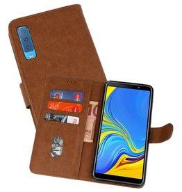 Samsung Galaxy A7 2018 Hoesje Kaarthouder Book Case Telefoonhoesje Bruin
