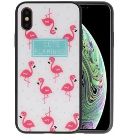 Print Hardcase iPhone XS Cute Flamingo's