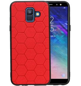 Hexagon Hard Case Samsung Galaxy A6 2018 Rood