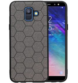 Hexagon Hard Case Samsung Galaxy A6 2018 Grijs