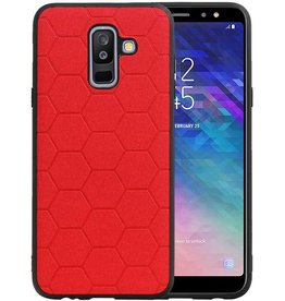 Hexagon Hard Case Samsung Galaxy A6 Plus 2018 Rood