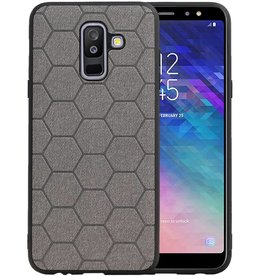 Hexagon Hard Case Samsung Galaxy A6 Plus 2018 Grijs