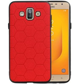 Hexagon Hard Case Samsung Galaxy J7 Duo Rood