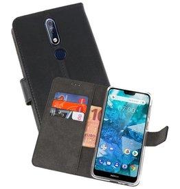 Wallet Cases Hoesje Nokia 7.1 Zwart