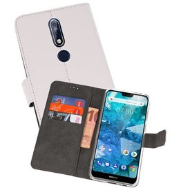 Wallet Cases Hoesje Nokia 7.1 Wit