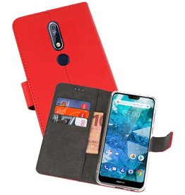 Wallet Cases Hoesje Nokia 7.1 Rood