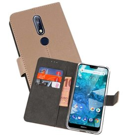 Wallet Cases Hoesje Nokia 7.1 Goud