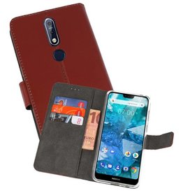 Wallet Cases Hoesje Nokia 7.1 Bruin