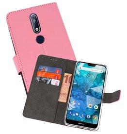 Wallet Cases Hoesje Nokia 7.1 Roze