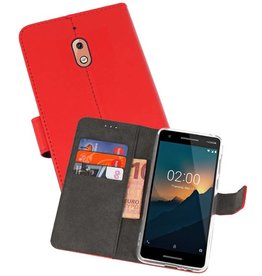 Wallet Cases Hoesje Nokia 2.1 Rood