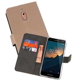Wallet Cases Hoesje Nokia 2.1 Goud