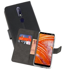 Wallet Cases Hoesje Nokia 3.1 Plus Zwart